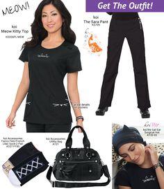Get The Outfit - MEOW! koi scrubs Scrubs Outfit, Scrubs Uniform, Nursing Scrubs, Nursing Clothes, Koi Scrubs, Medical Uniforms, Soul On Fire, Outfits, Fashion