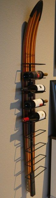 Vintage water ski wine rack