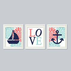 Nursery Wall Art Nautical Nursery Dahlia by LovelyFaceDesigns, $29.00 Nursery Canvas, Nursery Prints, Nursery Wall Art, Girl Nursery, Nautical Nursery Decor, Nautical Baby, Dahlia, Nursery Inspiration, Nursery Ideas