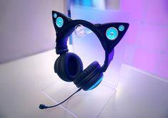 Cat Ear Headphones Bring Beats With Purrrfect Feline Flair headphone aesthetic Gaming Headphones, Gaming Headset, Over Ear Headphones, Unique Cats, Audiophile, Gadgets, Geek Stuff, How To Wear, Accessories