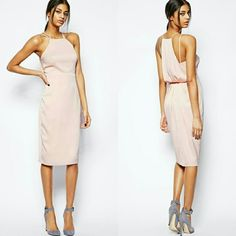 PM EDITOR PICK | ASOS Blush Midi Dress NWT. Size 12. So chic! Stunning.   Get this gorgeous blush midi dress that's perfect for all occasions! Beautiful drape detail in the back. Wear to a wedding or evening out, or pair w a blazer for work. Perfect day to night transition! ASOS Dresses Midi
