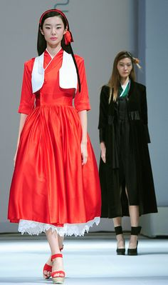 Various Hanbok designs that combine the beauty of the classic attire and the merits of modern clothing are on display during the Hanbok fashion show.