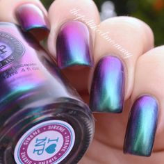 swatch of ILNP Sirène which shifts from teal,to blue, to purple, to rosey pink.  Dont own this yet but def in my wish list