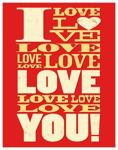 I Love Love Love Love You 11x14 Print Poster by HappyLittleGarden, $18.00