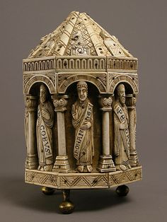Tower Reliquary with Eight Apostles and the Symbols of the Four Evangelists,ca 1200-1250,made in   Cologne,Germany.  Ivory,gilt copper alloy,wood core.