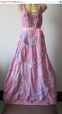 I like the upcycled doilies in this vintage inspired shabby chic bohemian gypsy dress in pastel pinks and lilacs