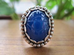 Royal Blue Chalcedony Scarab Ring with by AutopilotEmpires on Etsy