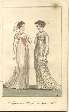Net tunic in Ladies' Monthly Museum, May 1800 (fashions for June published in May edition). This is the net dress fad influencing the Cadawalader and Walker portraits.