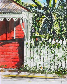 "sundaya morning / chattel house / main street / tortola BVI - micheal zarowsky 26"" x 20"" watercolour on arches paper - available $1800.00"