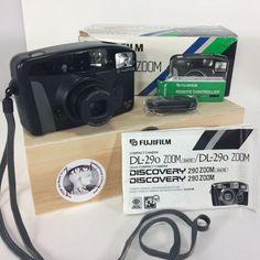 Fujifilm DL 290 Zoom Camera Point & Shoot 35mm Box Remote Flash Tested Works #Fuji