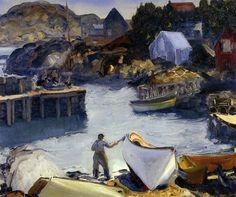 George Wesley Bellows Cleaning His Lobster Boat hand embellished reproduction on canvas by artist American Realism, American Artists, William Glackens, Ashcan School, Art Sur Toile, Lobster Boat, Most Famous Artists, Reproduction, Manet