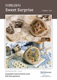 'Sweet Surprise' by Betsy Morgan is an ideal gift for a stitching friend, this unique thimble pod in tiny cross stitch on evenweave linen. A subtle palette of variegated silk threads is used for the tiny squirrel, acorns, bluebirds and floral motifs that adorn each side. Lined with luxurious olive silk and finished with a twisted cord and tassel, the thimble holder also serves as an elegant fob for your scissors. Instant Download Pattern. You are buying a digital file to download...