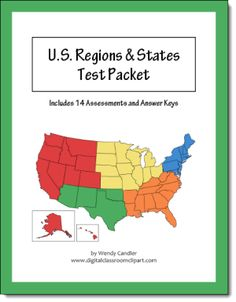 US Regions and States Test Pack from Wendy Candler of Digital Classroom Clipart - includes two forms of a quiz for each region as well as a practice and a test on all 50 states - answer keys included $ I bought this and LOVE it!