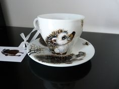 tea cup 20cl and saucer Hedgehogs Hand painted porcelain