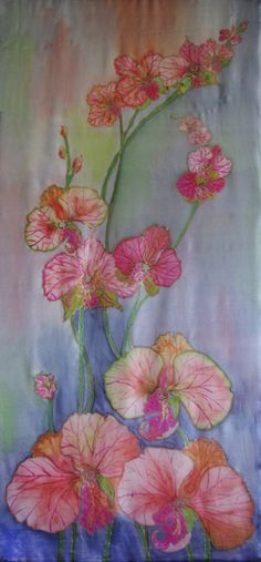 """Painting on silk """"Orchid"""" Wall hanging Batik Wall ART Panel Panno Picture on silk Textile ART....easy"""