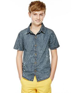 Pure Cotton Washed Look Shirt (5-14 Years) | M&S