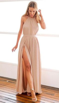 Halter Floor-Length Prom Dress,Sexy prom Dress,Simple Prom Dress,Beading