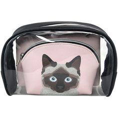 Sleepyville Critters Black Three-Piece Siamese Cats Cosmetic Bag Set ($20) ❤ liked on Polyvore featuring beauty products, beauty accessories, bags & cases, purse makeup bag, wash bag, dop kit, toiletry bag and make up bag