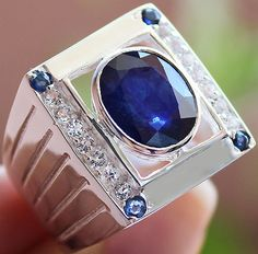 MEN'S 10.95 cts BLUE SAPPHIRE & W.TOPAZ RING 100% SOLID 925SS SIZE#11 FREE…