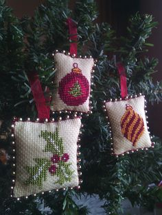 Set of Three Tiny Christmas Ornaments, Cross stitch Christmas ornaments, Christmas decorations, Christmas decor, Christmas tree ornaments