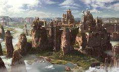 View an image titled 'Meridian City Art' in our Horizon Zero Dawn art gallery featuring official character designs, concept art, and promo pictures. Fantasy City, Fantasy Castle, Fantasy Places, Medieval Fantasy, Sci Fi Fantasy, Fantasy World, Fantasy Artwork, Fantasy Concept Art, Horizon Zero Dawn
