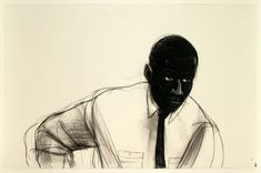 """Kerry James Marshall (American, b. 1955), Study for """"Many Mansions"""", 1994. Black and white Conté crayon, with stumping, on ivory wove paper, 66.3 x 101.7 cm."""