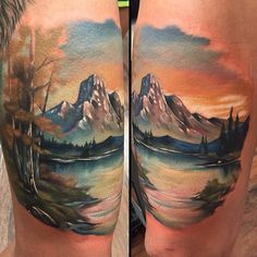 Landscape tattoo by @kylecotterman at @distinctiontattoo in Dayton, OH #tattoosnob #kylecotterman #distinctiontattoo #dayton #ohio #landscape #mountain #nature #river #lake #tattoo #tattoos