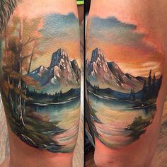 Landscape tattoo by @kylecotterman at @distinctiontattoo in Dayton, OH #tattoosnob #kylecotterman #distinctiontattoo #dayton #ohio #landscape #mountain #nature #river #lake #tattoo #tattoos