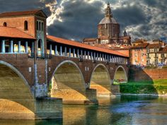 Ancient bridge in Pavia, Lombardy