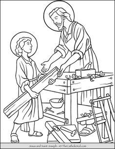St Joseph Catholic, Catholic Kids, Catholic Saints, Catholic School, Jesus Coloring Pages, Coloring Pages For Kids, St Joesph, Saint Joseph, Religious Education