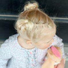 Elastic style with knotted buns #frenchbraid #dutchbraid #braidpics #braidphotos #toddlergirl #toddlerhair #toddlergirls #toddlerantics #toddlerhairideas