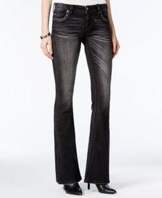 Miss Me Embroidered Black Wash Flare-Leg Jeans - Black 26