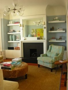 floating shelves would look good with your untrimmed windows home - Bookshelves Next To Fireplace