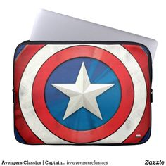 Check out this brushed metal textured graphic of Captain America's shield. Neoprene Laptop Sleeve, Laptop Sleeves, Marvel Store, Black Widow Winter Soldier, Armor All, Captain America Shield, Computer Sleeve, Marvel Comic Character, Custom Laptop