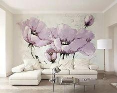 Watercolor Floral Wallpaper, Purple Flowers Wallpaper, Paper Wallpaper, Self Adhesive Wallpaper, Custom Wallpaper, Wall Wallpaper, Pink Flowers, Spring Wallpaper, Bedroom Wallpaper