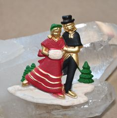 AJC Winter Couple Ice Skating Enamel Pin Brooch Signed #SilverForest