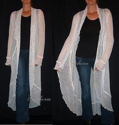 Women Knit Cardigan Vest Asymmetric White  by DancingQween8888