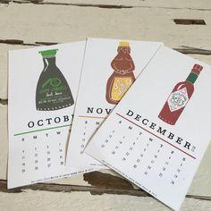 2016 Condiment Desktop Calendar by GreenHoundPress on Etsy