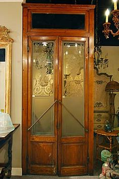 French Antique Etched Glass Oak Bistro Doors♥.•:*´¨`*:•♥