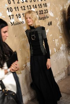 Hanne Gaby Odiele at the H & M with Maison Martin Margiela launch party.