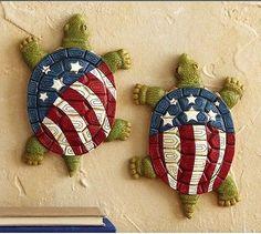 American Patriotic Holidays | Patriotic American Flag Turtle Garden Statues 4th of July Yard Decor ...