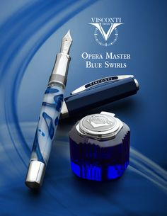 Visconti Opera Master Blue Swirls fountain pen and matching blue crystal inkwell, coming to Goulet Pens later in November 2015.