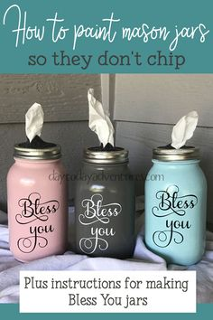 How to paint mason jars so they don't chip jar Crafts DIY Bless You Mason Jar Tissue Dispenser — Day to Day Adventures Mason Jar Projects, Mason Jar Crafts, Fall Mason Jars, Pickle Jar Crafts, Mason Jar Shelf, Crafts With Glass Jars, Rustic Mason Jars, Diy Home Decor Projects, Diy Projects To Try