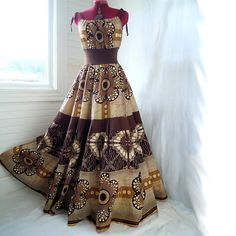 RESERVED - Earthy Goddess - Brown Gold Floral African Maxi Dress, Best fit sizes - S, M, L. $140.00, via Etsy.