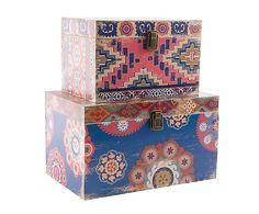 Set de 2 cajas de madera DM y algodón Abdel - azul y teja