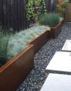 Stone Raised Garden Beds Design, Pictures, Remodel, Decor and Ideas - Blasen Landscape Architecture Modern Landscaping, Backyard Landscaping, Backyard Walkway, Black Rock Landscaping, Side Walkway, Landscaping Software, Landscaping Ideas, Landscape Architecture, Landscape Design