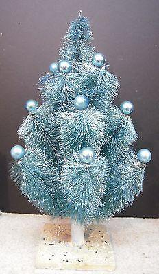 Vintage Christmas Holiday Blue Bottle Brush Tree