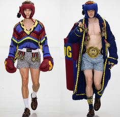 Sibling 2016-2017 Fall Autumn Winter Mens Runway Catwalk Looks - London Collections: Men British Fashion Council UK United Kingdom - Denim Jeans Boxing Champ Belt Champion Gloves Head Masks Headwear Sporty Chunky Knit Sweater Jumper Weave Oversized Outerwear Robe Cloak Jacket Blazer Medals Lace Shorts Animal Spots Leopard Cardigan Geometric Kilt Manskirt Androgyny Sleepwear Pajamas Loungewear