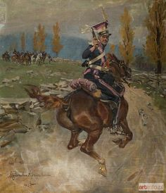 Wojciech Kossak, Lancer of French Imperial Gaurd Ancient History, Art History, Mounted Archery, Royal Guard, British Colonial, Napoleonic Wars, Equine Art, American Civil War, Horse Art
