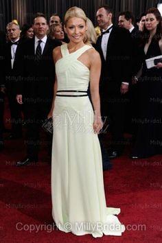 A-line Cross ,Neck Floor Length ,Evening Dress with Double Belt